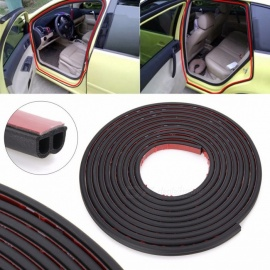 5 Meters B Type Adhesive Car Rubber Seal Sound Insulation Car Door Sealing Strip Weatherstrip Edge Trim Noise Insulation Black