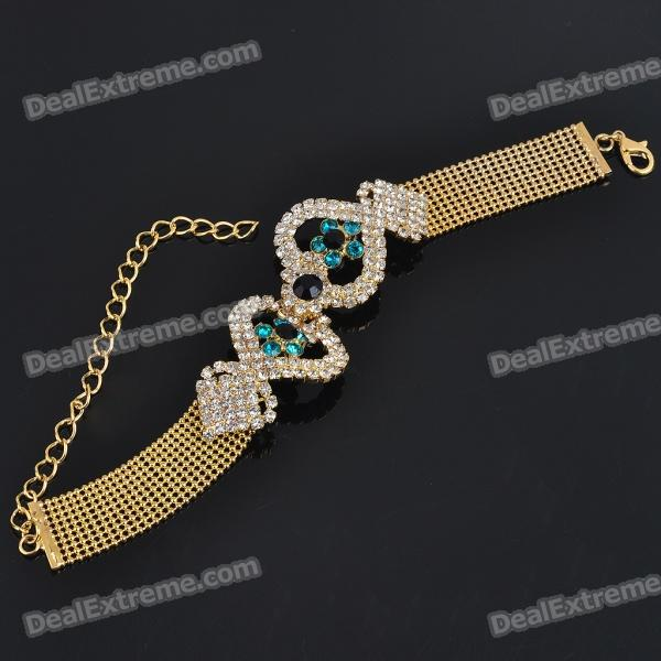 Elegant Imitated Diamond Alloy Bracelet - Golden