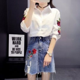 Stylish Rose Embroidery Blouse Shirt Women Embroidered White Top Summer Fashion Female Clothes White/S