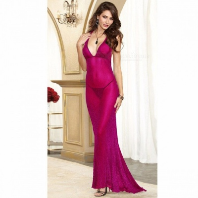 Sexy Deep V Long Dress Maxi Dress Sexy Lingeries With G-String For Women Fuchsia/One Size