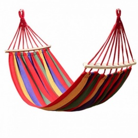 240x150CM Double Person Hammock Canvas Camping Hammocks Wooden Stick Prevent Rollover Bar Garden Camping Swing Hanging Red