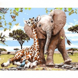 Elephant Giraff DIY Painting By Numbers Modern Wall Art Picture Paint By Numbers Unique Gift for Home Decor Frameless 40CMx50CM No Framed
