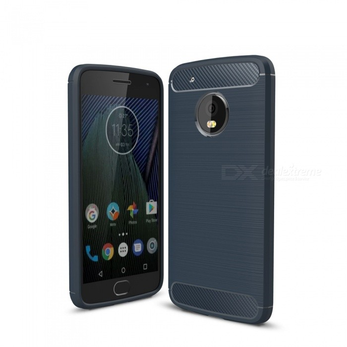 Dayspirit Wire Drawing Carbon Fiber TPU Case for Motorola Moto G5 Plus - Navy