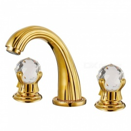 Contemporary Luxury Series  Brass Ceramic Valve Three Holes Ti-PVD, Bathroom Sink Faucet w/ Two Handles