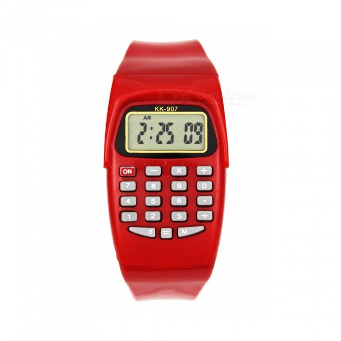 KK907 LED Calculator Watch Electronic Digital Chronograph Computer Kids Children Boys Girls Sport Rubber Wrist Watches