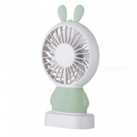 Ismartdigi i-2802 GN Rabbit Style Mini Portable Handheld Fan with LED Light Rechargeable USB Fans - Green