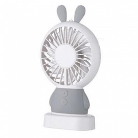 Ismartdigi i-2802 GY Rabbit Style Mini Portable Handheld Fan with LED Light Rechargeable USB Fans - Gray