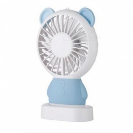Ismartdigi i-2801 BL Bear Style Mini Portable Handheld Fan with 3 LED Light Rechargeable USB Fans - Blue