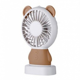 Ismartdigi i-2801 BR Bear Style Mini Portable Handheld Fan with 3 LED Light Rechargeable USB Fans - Brown