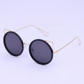 Fashion Cat\'s Eye Super Black Small Frame Sunglasses Retro Round Sunglasses Personality Glasses Lady Trend Pink