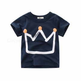 2018 Summer Pure Cotton Cute Crown Pattern Boy Short-sleeved T-shirts Gray/3T