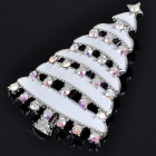 Charming Christmas Tree Style Crystal Alloy Brooch - White