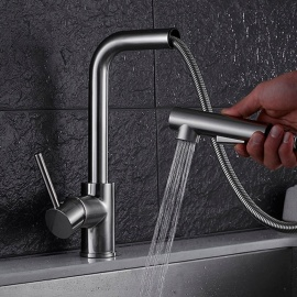 Brass Brushed Pull-out/Pull-down 360 Degree Rotatable One-Hole Kitchen Faucet with Ceramic Valve, Single Handle