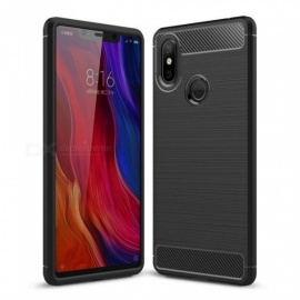 Naxtop Wire Drawing Carbon Fiber Textured TPU Brushed Finish Soft Phone Back Cover Case For Xiaomi Mi 8 SE