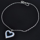 Elegant Heart Shaped Crystal Alloy Necklace - Silver + Blue