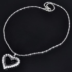 Elegant Heart Shaped Crystal Alloy Necklace - Silver + Black