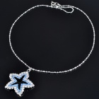 Elegant Star Shaped Crystal Alloy Necklace - Silver + Blue