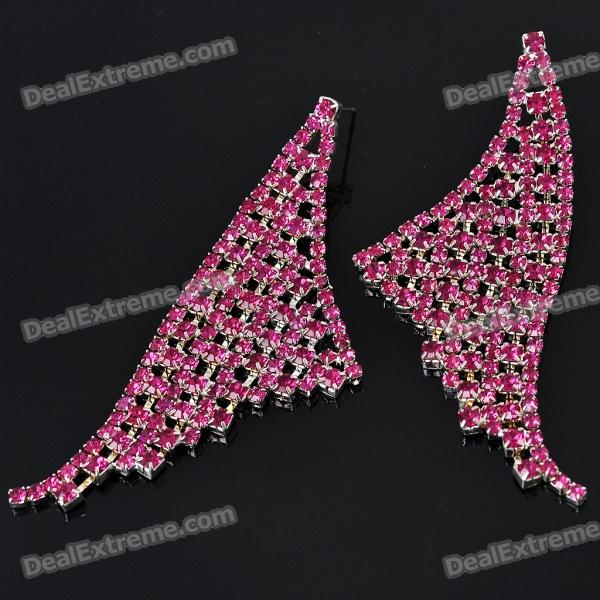 Elegant Crystal Stainless Steel Earrings - Red (Pair) - DXEarrings<br>Material: stainless steel - Excellent craft &amp;amp; fashionable design - Great gift for women<br>