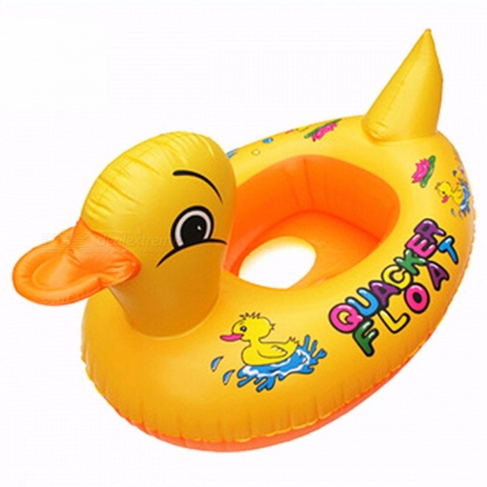Small Yellow Duck Design Cute Kids Baby Child Inflatable Swimming Laps Pool Swim Ring Seat Float Boat Water Sports Fun