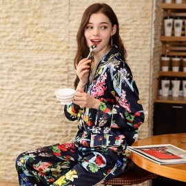 Spring Women\'s Soft Silk Printing Floral Letters Pajamas Long Sleeve Shirt Top + Wide Leg Pants Sleepwear Nightwear Blue/M