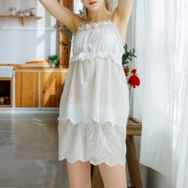 Women\'s Stylish Summer Cotton Lace Sexy Top + Shorts Set Pajamas Nightwear Nightgown Female Homewear White/M