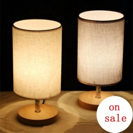 Modern Fashion Simple 5 Colors Fabric Wood Led E27 Dimmer Table Lamp For Bedroom Bedside Bar Deco Light 80-265V Beige/0-5W