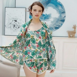 Stylish 3-in-1 Summer Floral Print Pajamas Shirt Vest Shorts Set Nightwear Sleepwear Nightgown