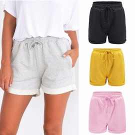 Women\'s Solid Color Summer Shorts Elastic Waist Loose Casual Vacation Beach Crimping Shorts Black/S