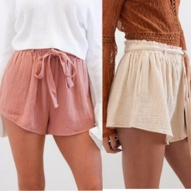 Women\'s Summer Elastic Waist Shorts Girls Stylish Wide-leg Short Trousers Casual Shorts Beige/S