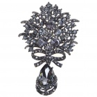Vintage Imitated Diamond Alloy Brooch with Pendant