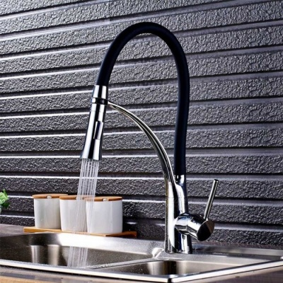 Brass Chrome Pull-out/­Pull-down 360 Degree Rotatable Ceramic Valve Single Handle One-Hole Kitchen Faucet