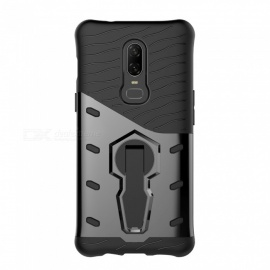 TPU + PC Case w/ Holder Stand for Oneplus 6 - Black