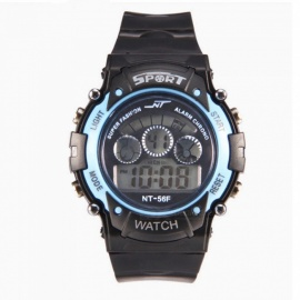 67F LED Nightlight Sport Rubber Watch w/ Alarm, Chronograph, Stopwatch, Date Display for Kid Child Boy Girl Student - Pale Blue