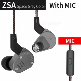 KZ ZSA Metal Earphone Armature And Dynamic Hybrid In Ear Monitors Sport Headset HiFi Bass Noise Cancelling Headphones with MIC