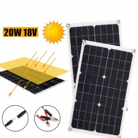 ESAMACT Portable Solar Panel Generator, Emergency Power Supply Travel Solar Cell Charging Phone Charger, 20W 18V USB + DC Port