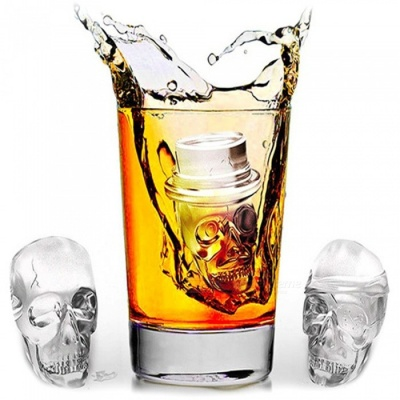 3PCS Silicone Skull Ice Cube Creative Halloween Ghost Style Ice Cube Molds - Black