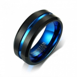 Black Tungsten Carbide Ring for Men Women Matte Finished Wedding Bands Blue Carbon Fiber Groove Rings Jewelry 8