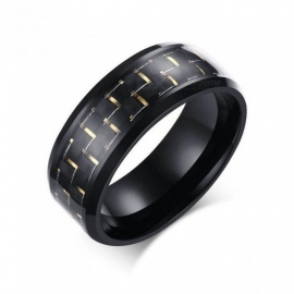 Jewellery Simple Blue Black Carbon Fiber Inlay Ring for Men Stainless Steel Wedding Band Engagement Ring USA Size 7-12 R151L/12