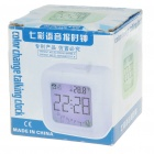 LCD 7 Color Change Digital Alarm Clock with Thermometer - White (3*AAA)