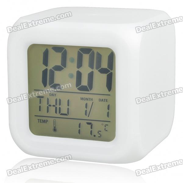 LCD 7 Color Change Digital Alarm Clock with 5 Alarm Ringing - White (4*AAA)