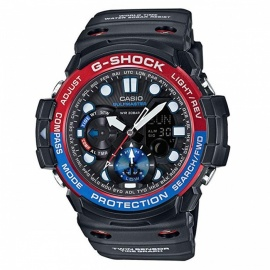 Casio G-Shock GN-1000-1A Gulfmaster Twin Sensor Men's Watch - Black With Red / Blue Bezel