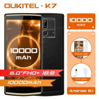 OUKITEL K7 MT6750T Octa-Core 18:9 Full Display 6.0'' FHD Mobile Phone w/ Android 8.1, 4GB RAM, 64GB ROM, 13MP Dual Cam - Black