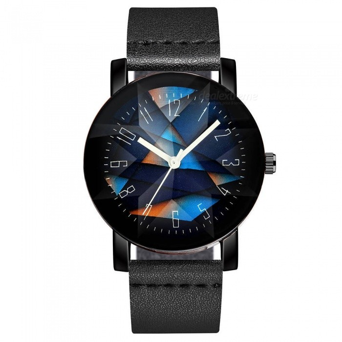 Cooho C08 Men's Watch Fashion Simple Colorblock Dial All Match Wristwatch - Black
