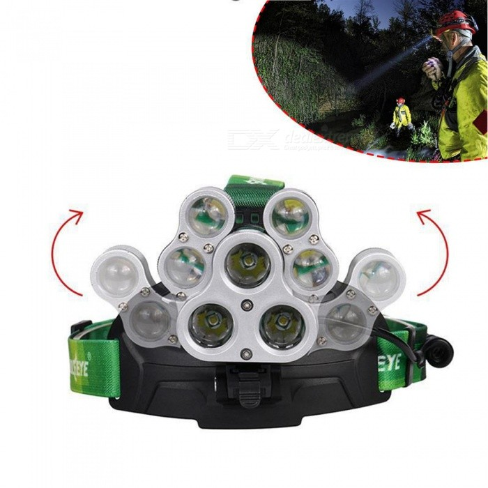 AIBBER TONE 8000LM 3*T6+4*XPE LED Headlamp 7LEDs Headlight Waterproof Lamp Zoomable Light 4 Mode 7 led Headlight Tube Torch
