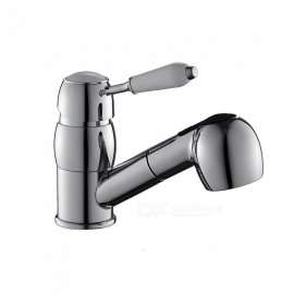 Brass Chrome Pull-out/Pull-down 360 Degree Rotatable One-Hole Kitchen Faucet with Ceramic Valve, Single Handle