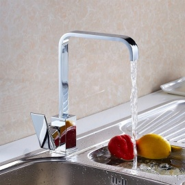 Brass Chrome 360 Degree Rotatable Single Handle One-Hole with Ceramic Valve, Kitchen Faucet