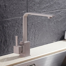 Brass 360 Degree Rotatable Ceramic Valve Single Handle One-Hole Kitchen Faucet - Gray