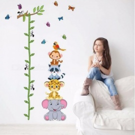 Cute Tiger Animals Stack Height Measure Wall Stickers Decal Kids Adhesive Vinyl Wallpaper Mural Baby Girl Boy Room Nursery Decor As Pictures