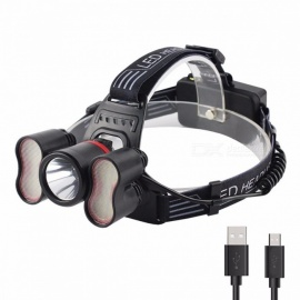 USB Rechargeable LED Headlamp Headlight Head Lamp Lighting Flashlight Light Control Torch Lantern 18650 Battery Powered White/Gray