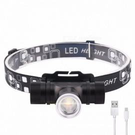 LED CREE XM-L T6 Chips Headlights Headlamp Rechargeable Zoom Lamp Outdoor Fishing Lights 1x18650 Battery Powered Cold White/Black